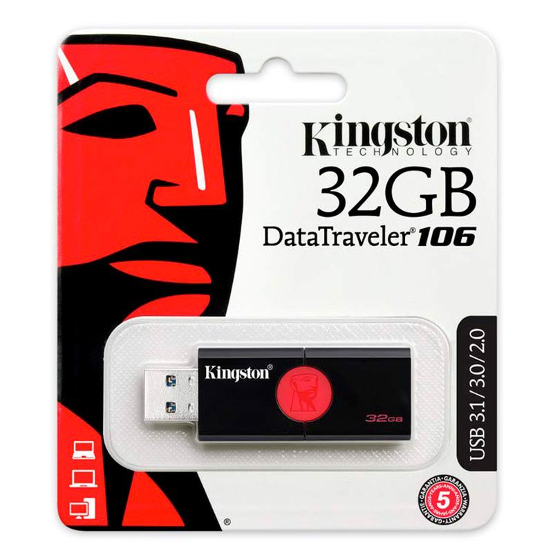 Pen Drive 32gb Kingston Datatraveler 106 - Usb 3.0 - Dt106/32gb