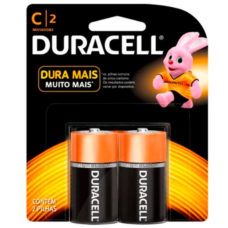 Pilha Alcalina Media C Duracell (Cartela C/2 Pilhas)