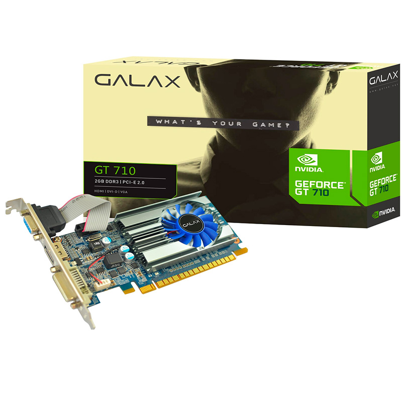 Placa De Video 2gb Ddr3 Galax Gt710 71gph4hxj4fn 64bits 1600mhz