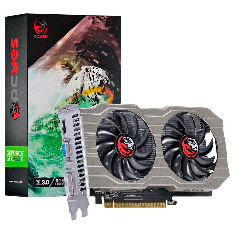 Placa De Video 2gb Gddr5 Nvidea Geforce Pcyes Gtx 750 TI Dual Fan Hdmi Dvi Vga - PA75012802G5