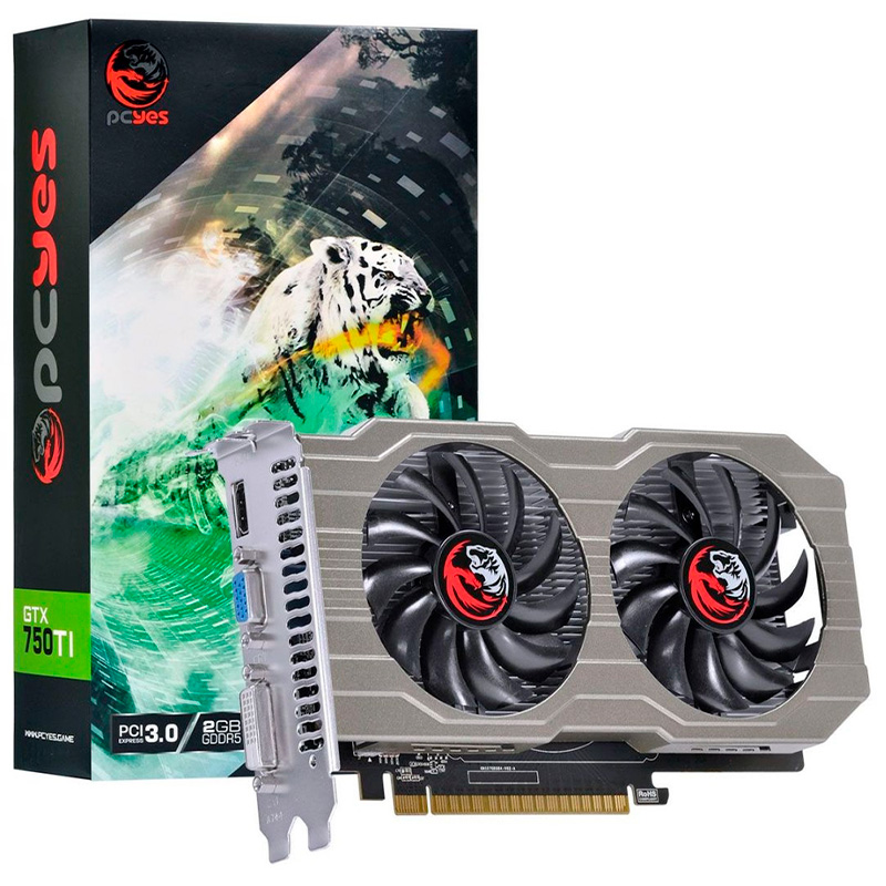 Placa De Video 2gb Gddr5 Nvidea Geforce Pcyes Gtx 750ti Dual Fan 128bits 1350mhz Hdmi Dvi Vga - Pa750ti12802g5df