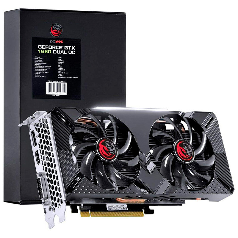 Placa De Video 6gb Ddr5 PcYes NVidea Geforce Gtx1660 192bits Dual Fan - PP1660OC19206G5
