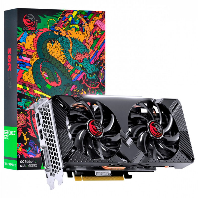 Placa De Video 6gb GDdr5 PcYes NVidea Geforce Gtx1660 192bits Dual Fan Graffiti Series - PPOC166019206G5