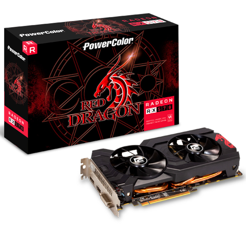 Placa De Video Redragon Power Color 4gb Ddr5 Radeon RX 570 256Bits - 4GBD5DHDV3OC