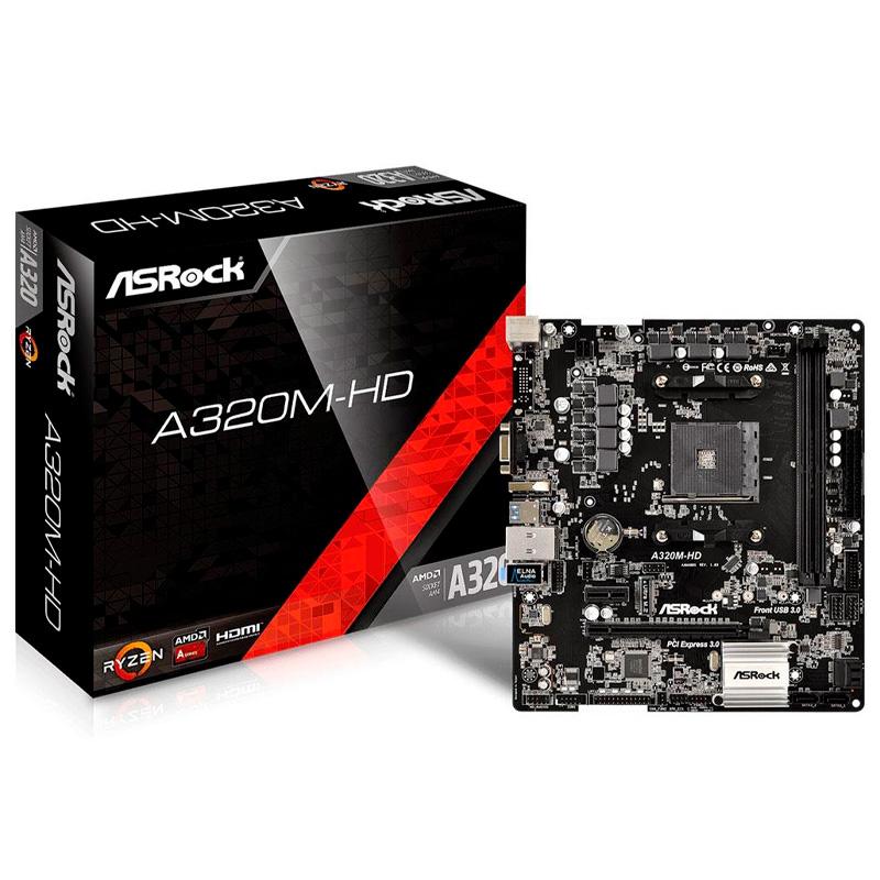 Placa Mae AMD ASRock A320M-HD DDR4 Socket AM4