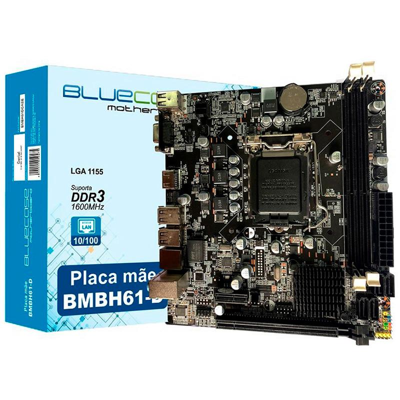 Placa Mae Bluecase Bmbh61-D Ddr3 16gb Vga Hdmi 10/100/1000 Socket 1155 Bulk