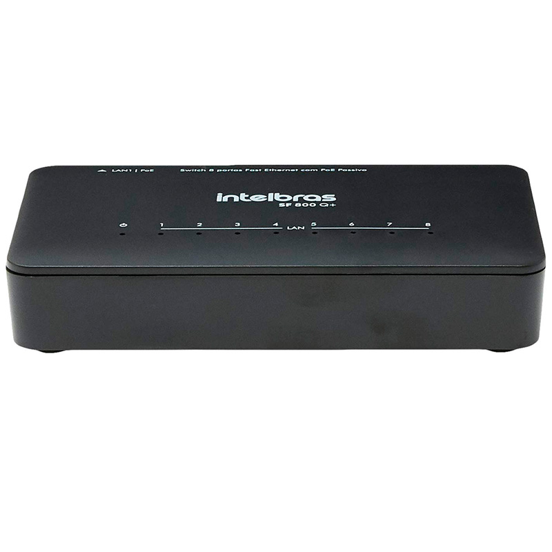 Switch Fast Ethernet 8 Portas 10/100 Mbps Intelbras Sf 800 Q+ (4760020)