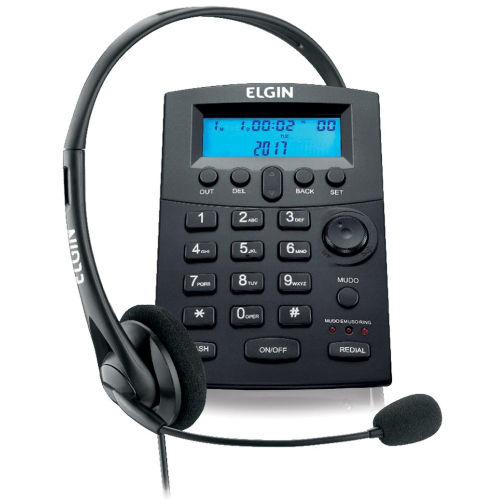 Telefone Headset Telefonista Com Base Discadora Elgin Hst-8000 - Identificador De Chamadas