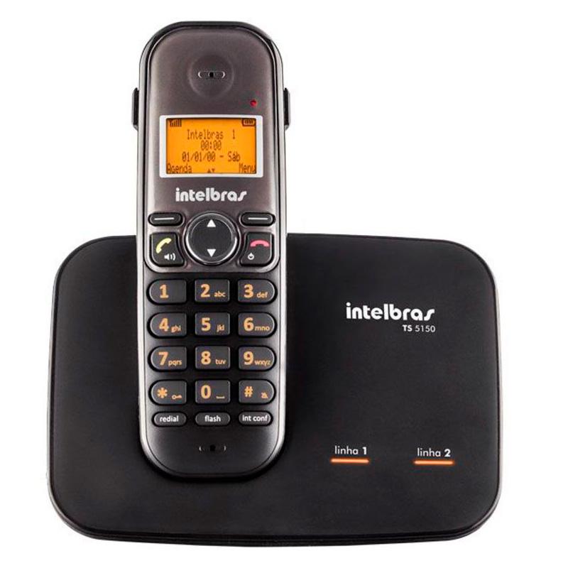 Telefone Sem Fio Digital Para Duas Linhas Intelbras Ts5150 Preto Ident De Chamadas - 4125150