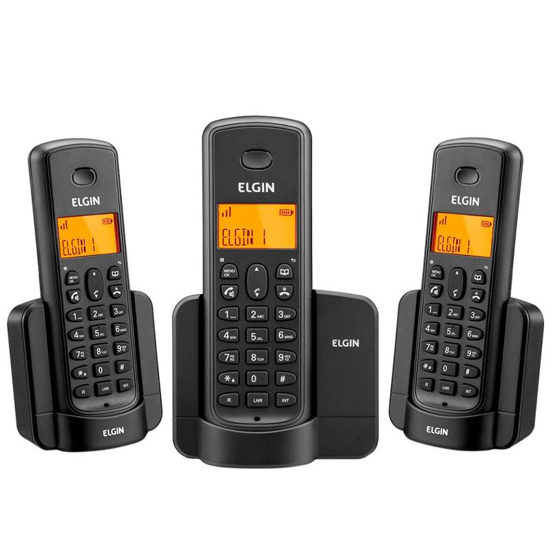 Telefone Sem Fio Elgin Tsf 8003 + 2 Ramais - Dect6.0 Teclado Iluminado, Identificador