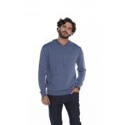 Blusa com Capuz Masculina Tricot Azul