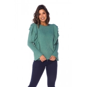 Blusa Feminina Babados Frente Verde