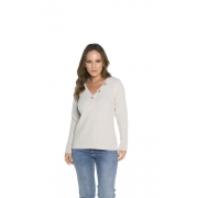 Blusa Feminina Decote V Off White