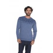 Blusa Masculina Slim Tricot Azul