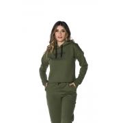 Blusa Moletom com Capuz Feminina Militar