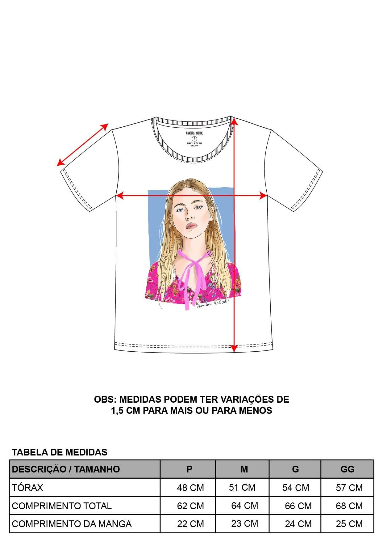 Blusa Decote Redondo Estampa Moça