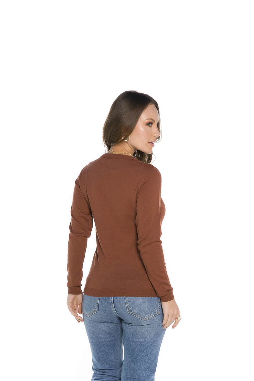 Blusa Decote Redondo Feminina Marrom