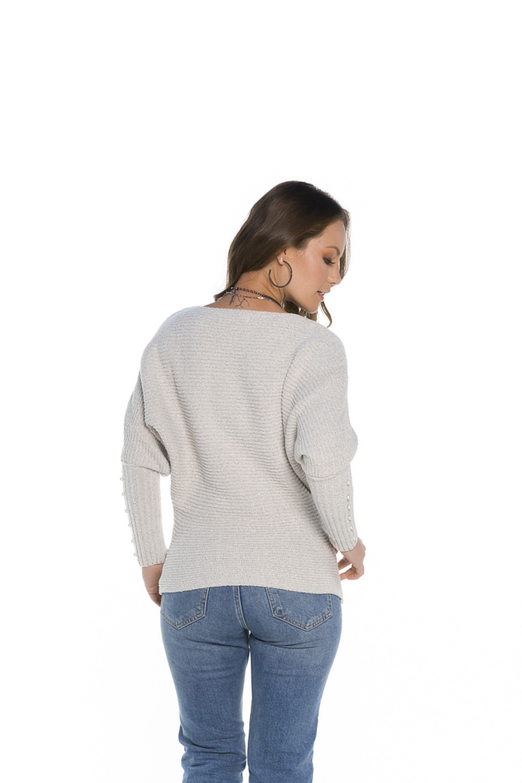 Blusa Decote Redondo Feminina Off White