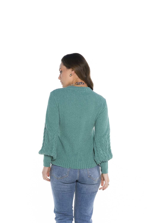Blusa Decote Redondo Feminina Verde