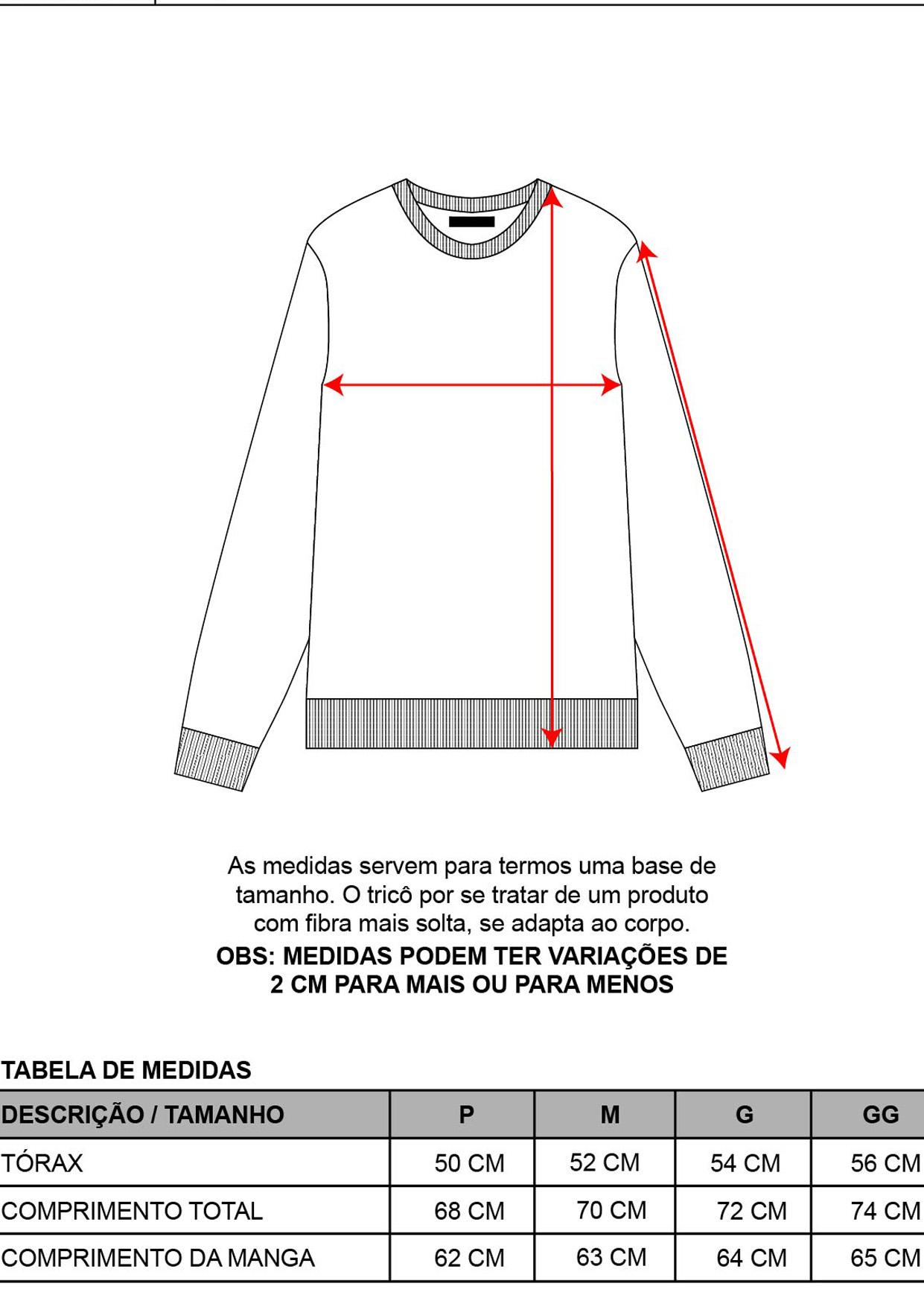 Blusa Decote Redondo Masculina Tricot Grafite