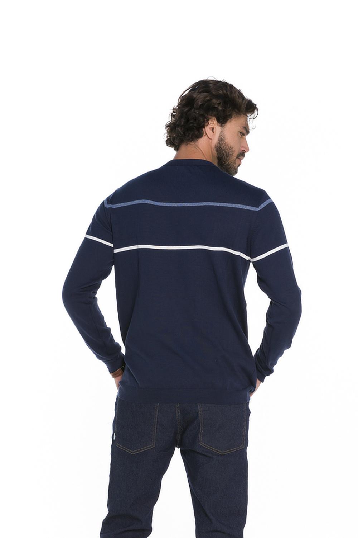 Blusa Decote Redondo Masculina Tricot Marinho