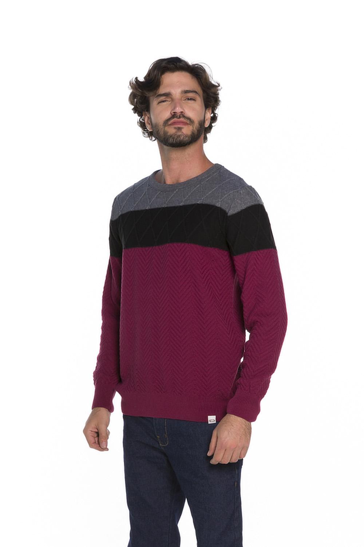 Blusa Decote Redondo Masculina Tricot Marsala