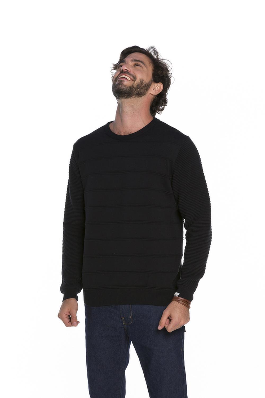 Blusa Decote Redondo Masculina Tricot Preto