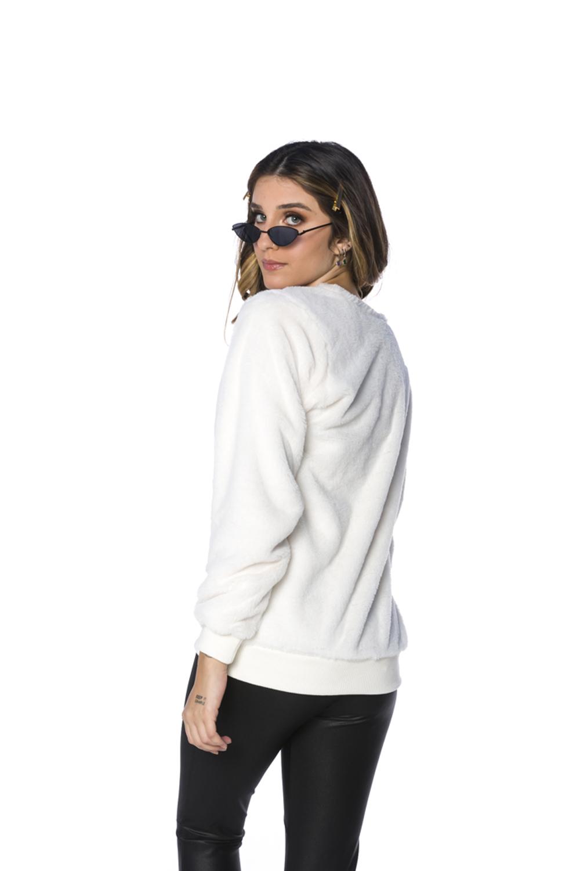 Blusa Decote Redondo Pêlo Agata Feminina Off White
