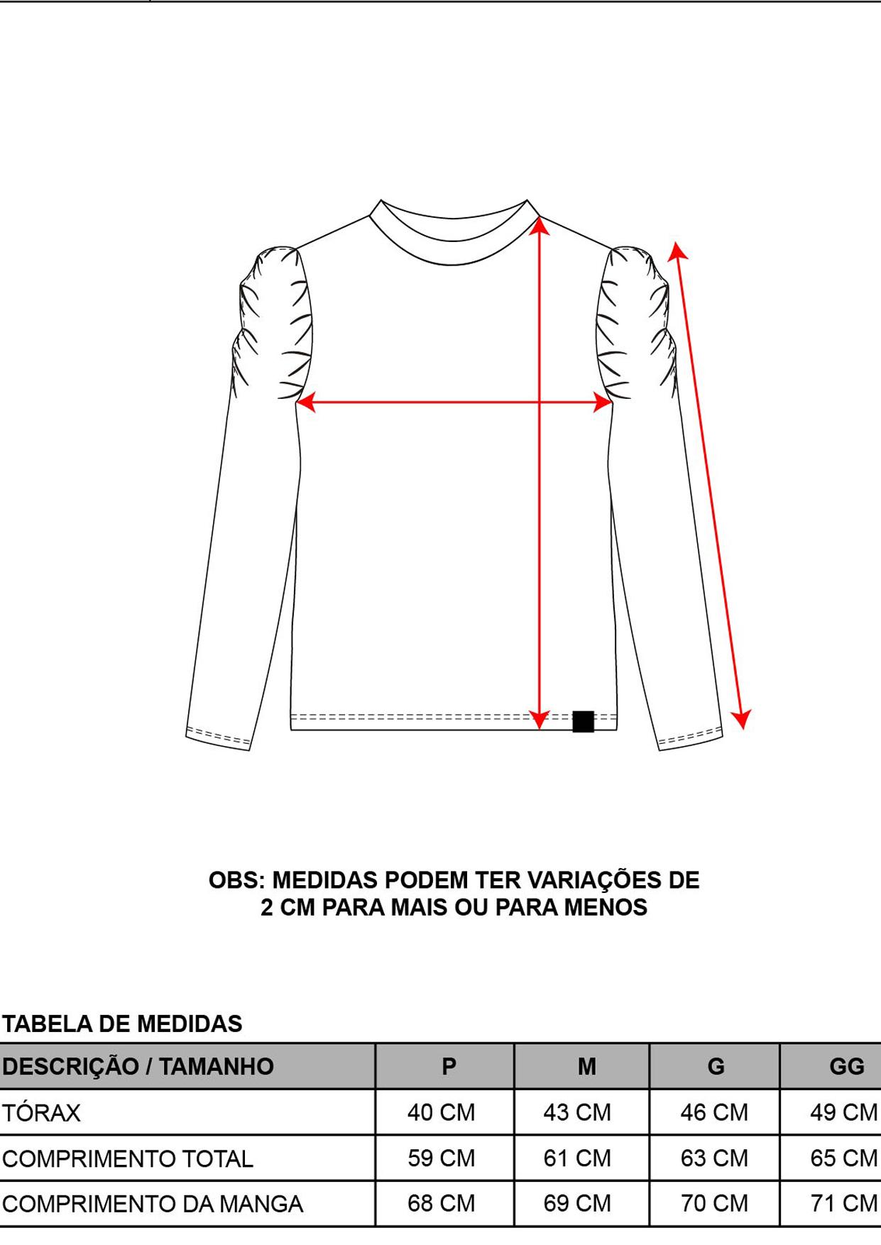 Blusa Decote Redondo Veludo Span Feminina Preta