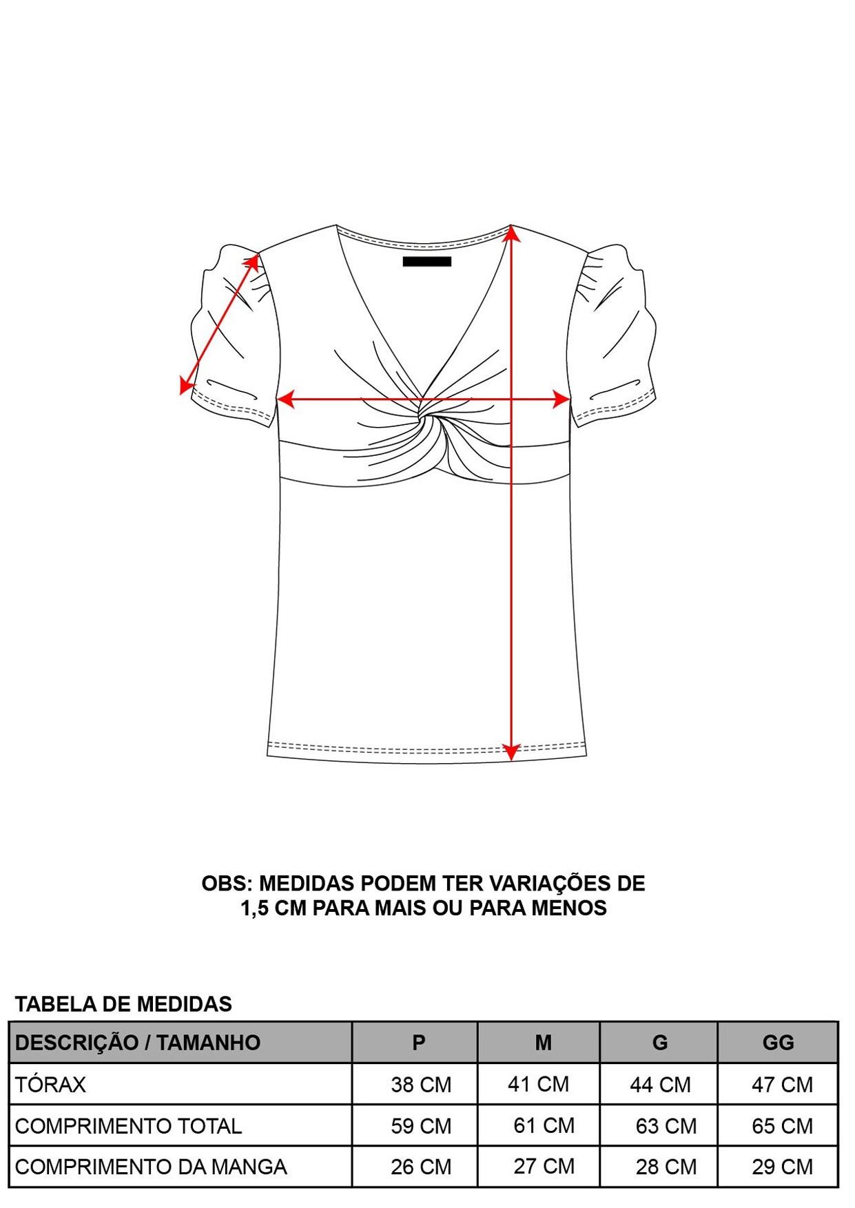 Blusa Decote V Detalhe Frontal