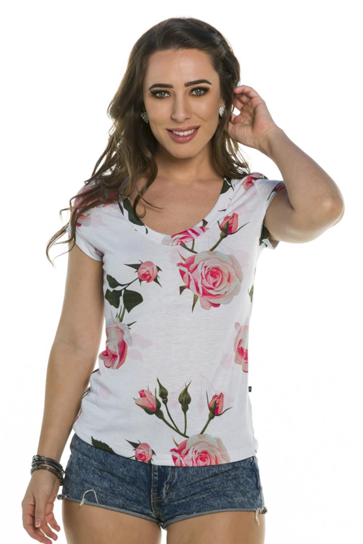 Blusa Decote V Rosas