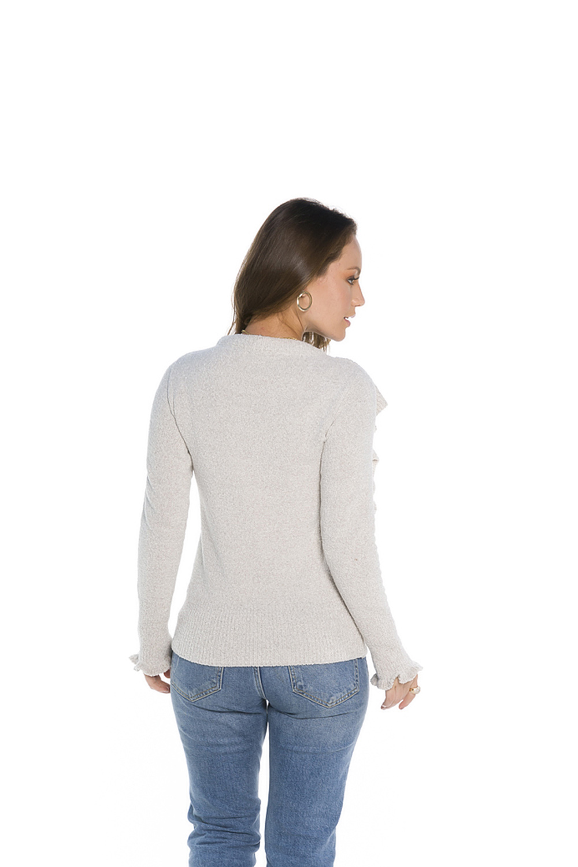 Blusa Feminina Babados Frente Off White