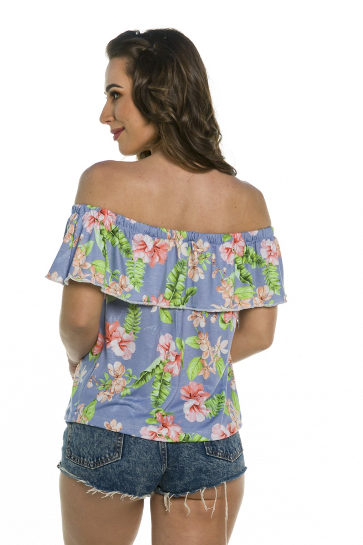 Blusa Feminina Floral Azul