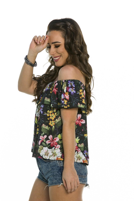 Blusa Floral Babado Decote Redondo