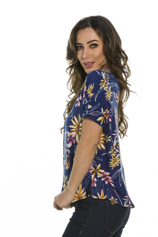 Blusa Floral Decote Redondo