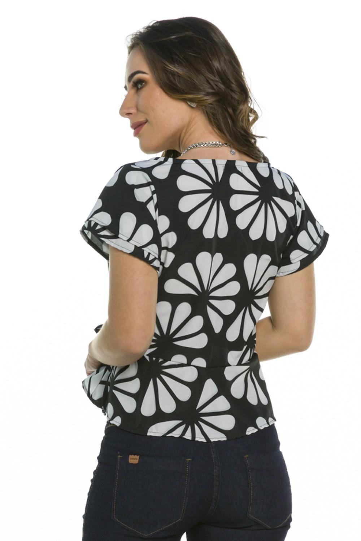 Blusa Geomérico Floral Laço Lateral