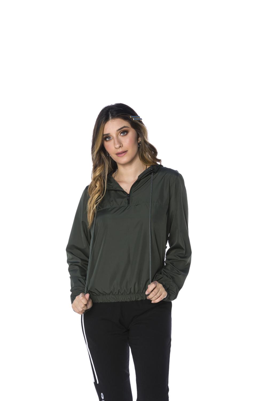 Blusa Meio Zíper Corta Vento Feminina Militar