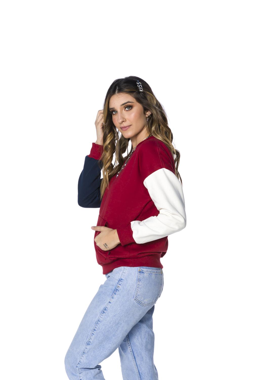 Blusa Moletom Decote Redondo Feminina Bordô