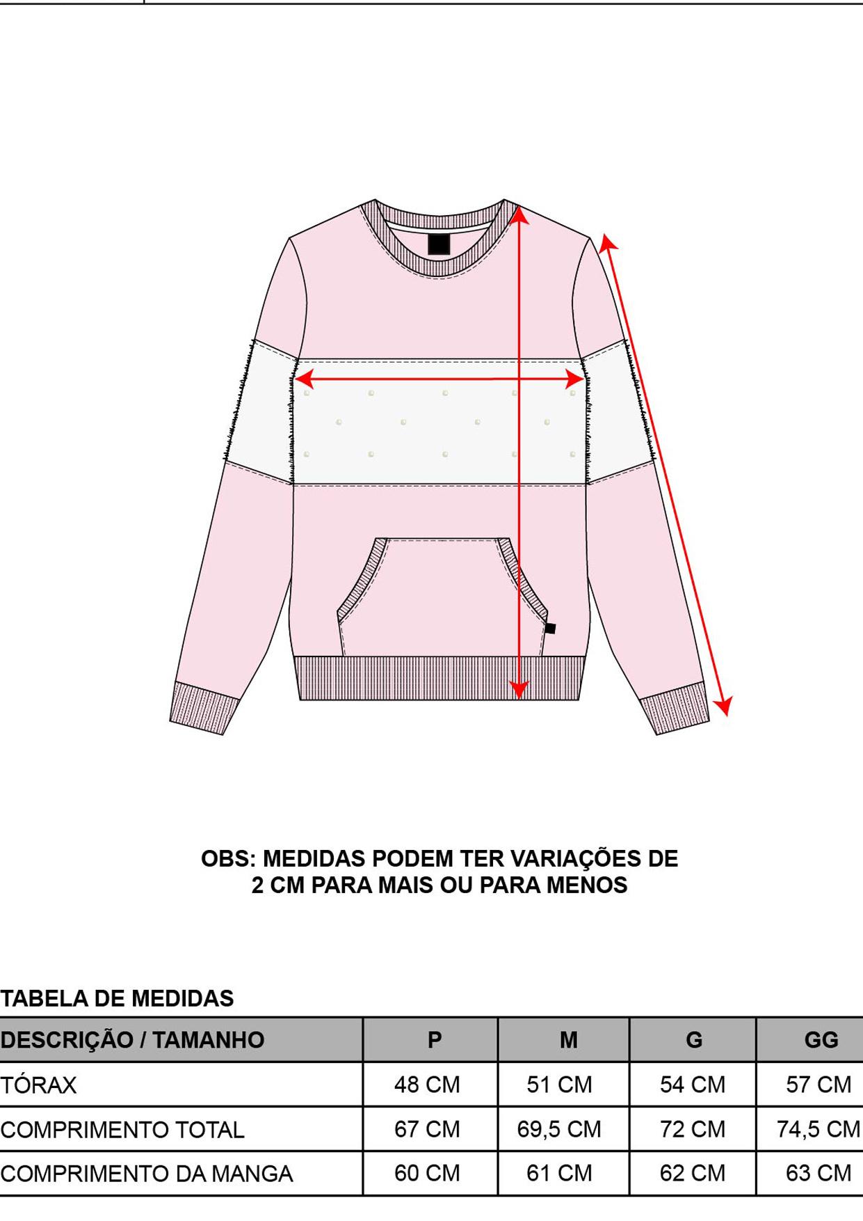 Blusa Moletom Decote Redondo Feminina Off White