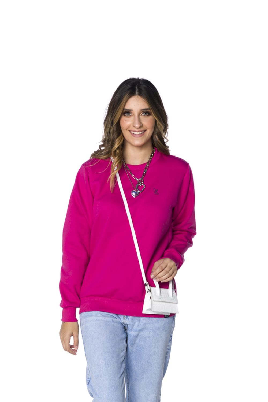 Blusa Moletom Decote Redondo Feminina Pink