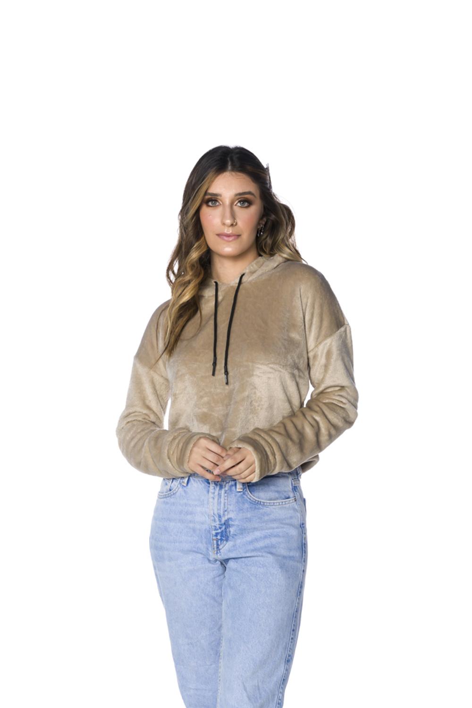 Blusa Pêlo Baixo com Capuz Feminina Bege