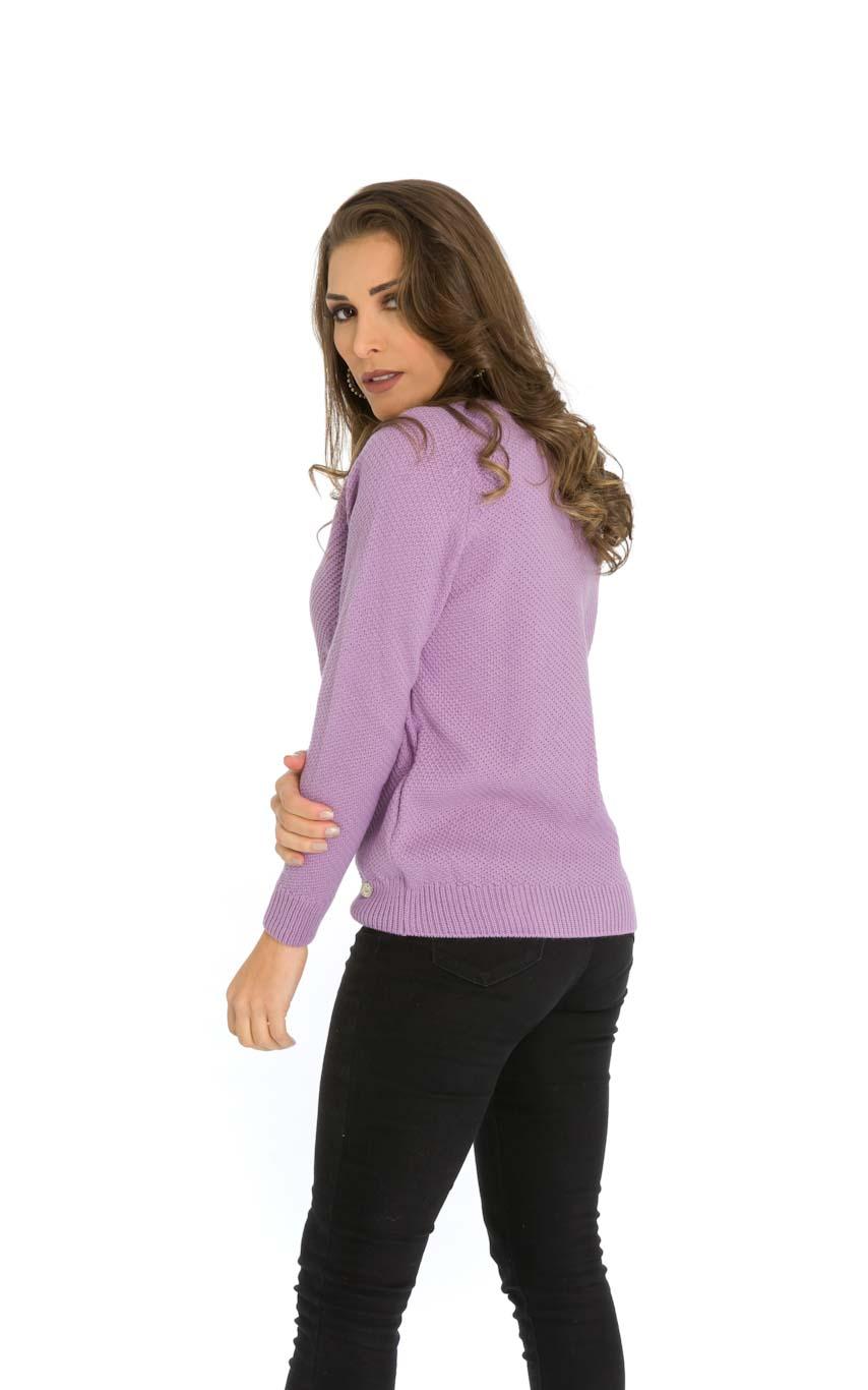 Blusa Tricot Decote Redondo Lilás
