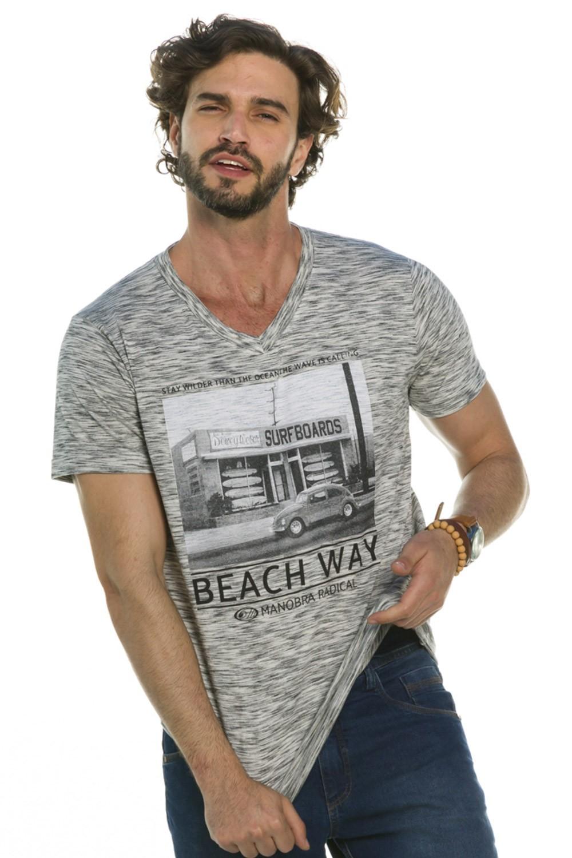 Camiseta Decote V Beach Way