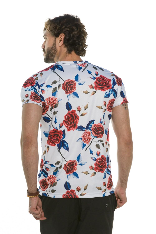 Camiseta Decote V Slim Rosas