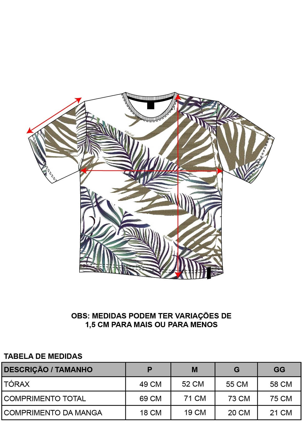 Camiseta Slim Folhagens
