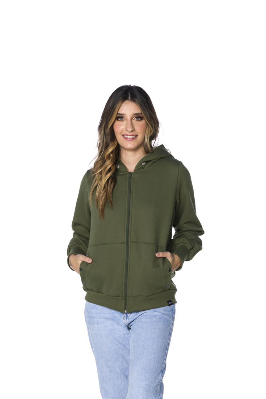Jaqueta Moletom com Capuz Feminina Militar
