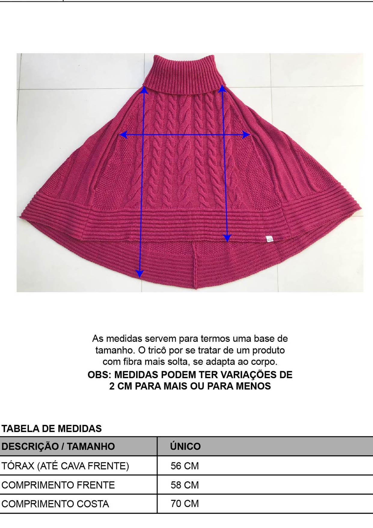 Poncho Feminino Tricot Preto