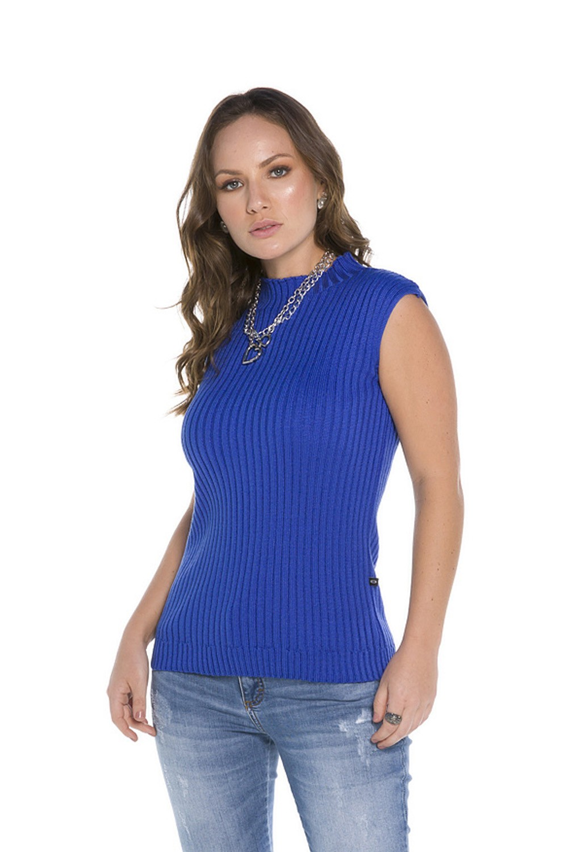 Regata Tricot Feminina Azul