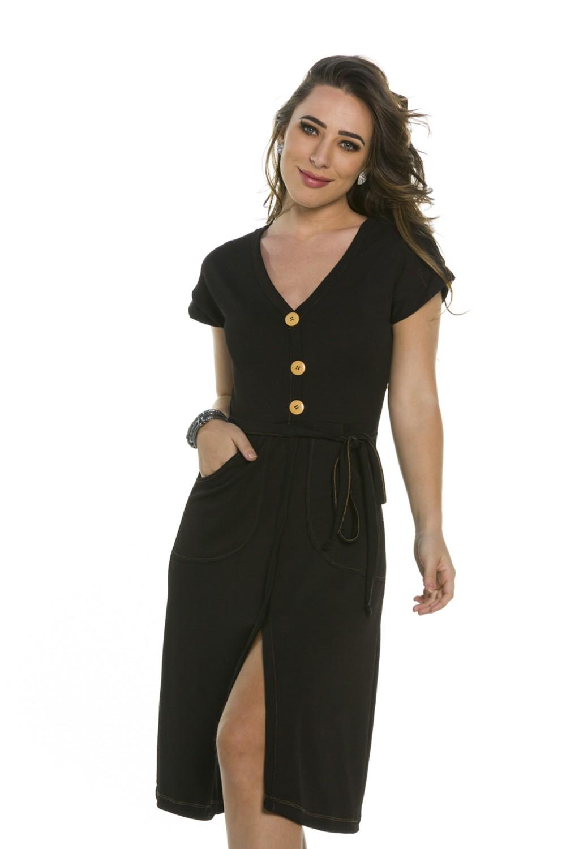 Vestido Curto Bolso Frontal
