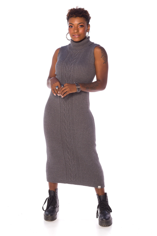 Vestido Feminino de Tricot Grafite